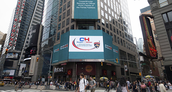 Cooper&Hunter and the Florida Panthers partnership is announced on Times Square LED screen, in New York